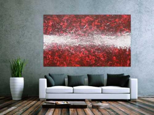 Abstraktes Acrylbild Action Painting zeitgenössisch rot weiß modernes Gemälde