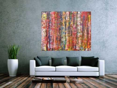 Abstraktes Acrylbild sehr bunt modern informel Modern Art expressionistisches Gemälde