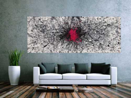 Abstraktes Acrylbild Action Painting glau weiß schwarz Fleck in Magenta Splash Art Zeitgenössisch