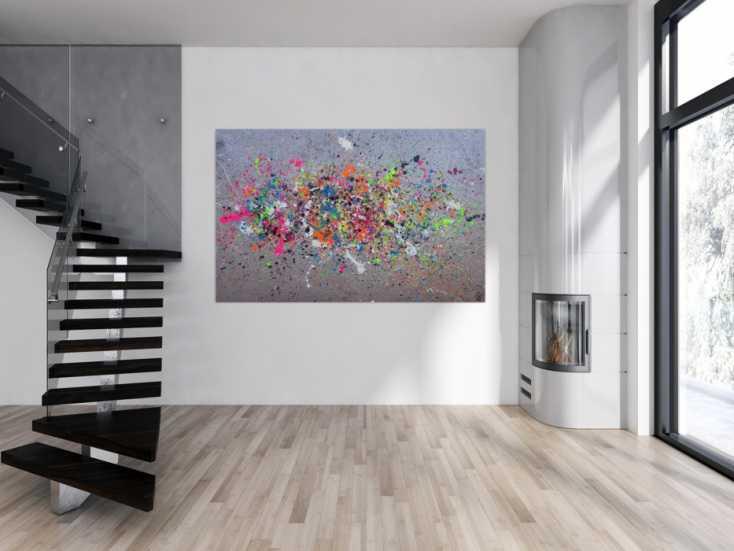 #1327 Abstraktes Acrylbild Action Painting neon-Farben auf silber Grund ... 130x200cm von Alex Zerr