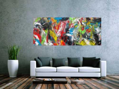 Abstraktes Acrylbild Action Painting bunt Modern Art zeitgenössisch expressionistisch