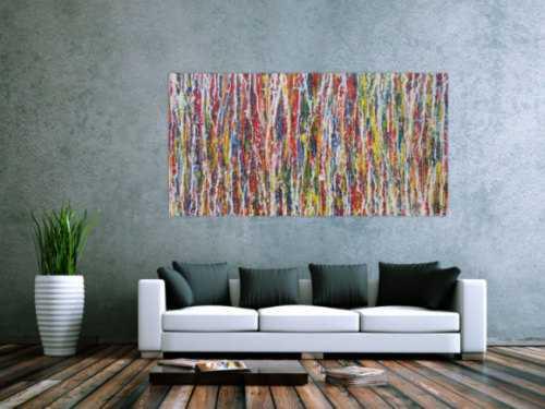 Modernes Acrylbild abstrakt Action Painting zeitgenössisch expressionistisch