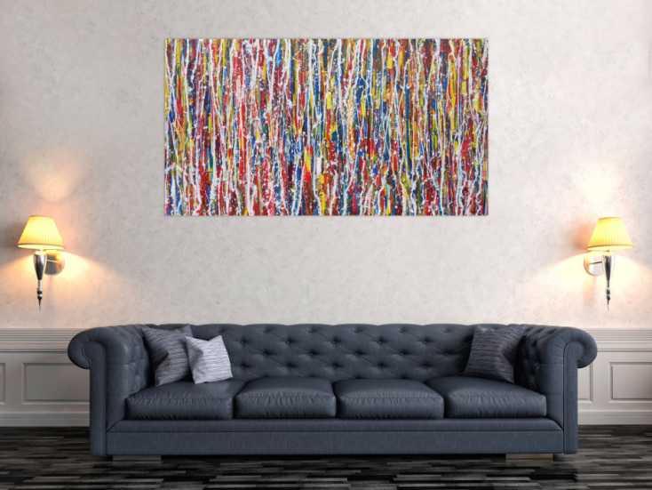 #1338 Abstraktes Acrylbild sehr bunt Action Painting Modern Art ... 80x150cm von Alex Zerr