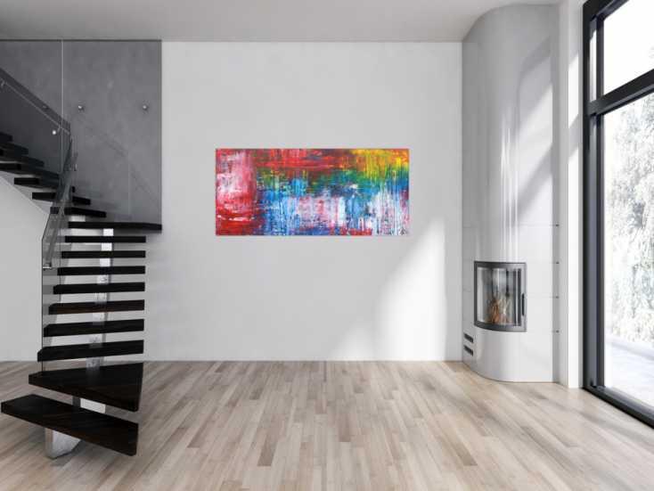 #1342 Abstraktes Gemälde modernes Acrylbild handgemalt expressionsistisch ... 70x160cm von Alex Zerr