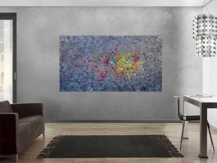 #1343 Abstraktes Acrylbild modernes Gemälde silber gold bunt Action ... 120x200cm von Alex Zerr