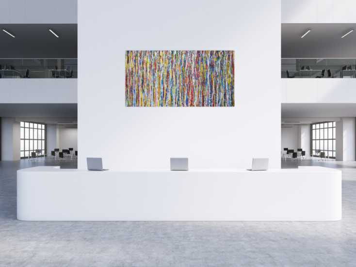 #1346 Abstraktes Acrylbild sehr bunt modern Action Painting Modern Art ... 100x200cm von Alex Zerr