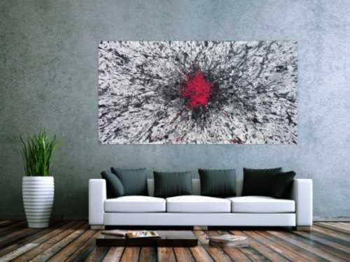 Abstraktes Acrylbild Action Painting glau weoß schwarz magenta Splash Art expressionistisch