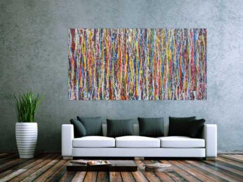 Abstraktes Acrylbild sehr modern bunt viele Farben Action Paintin zeitgenössische Malerei