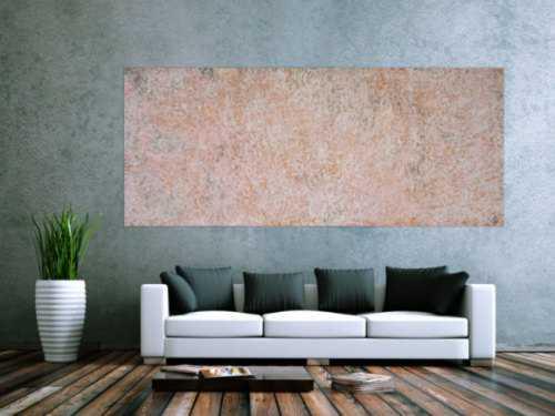 Abstraktes Acrylbild sehr modern schlicht altrosa und weiß auf Rost zeitgenössisch