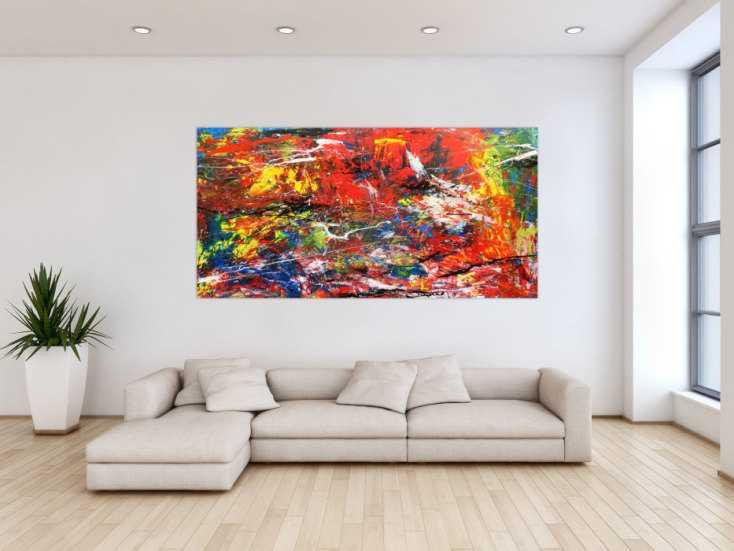 abstraktes acrlbild xxl bunt modern auf leinwand 100x200cm. Black Bedroom Furniture Sets. Home Design Ideas