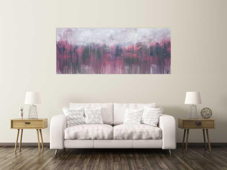 #1350 Abstraktes Acrylbild zeitgenössisch rosa taupe grau weiß modern ... 80x200cm von Alex Zerr
