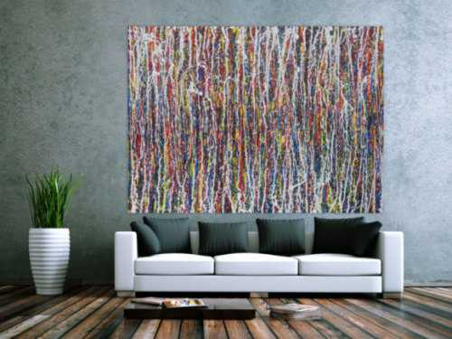 Abstraktes Acrylbild sehr bunt Action Painting Modern Art zeitgenössisch handgemalt
