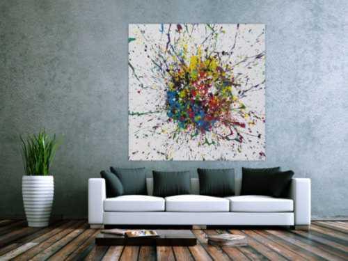 Abstraktes Acrylbild Action Painting sehr bunt Splash Art Modern Art auf weißem Grund