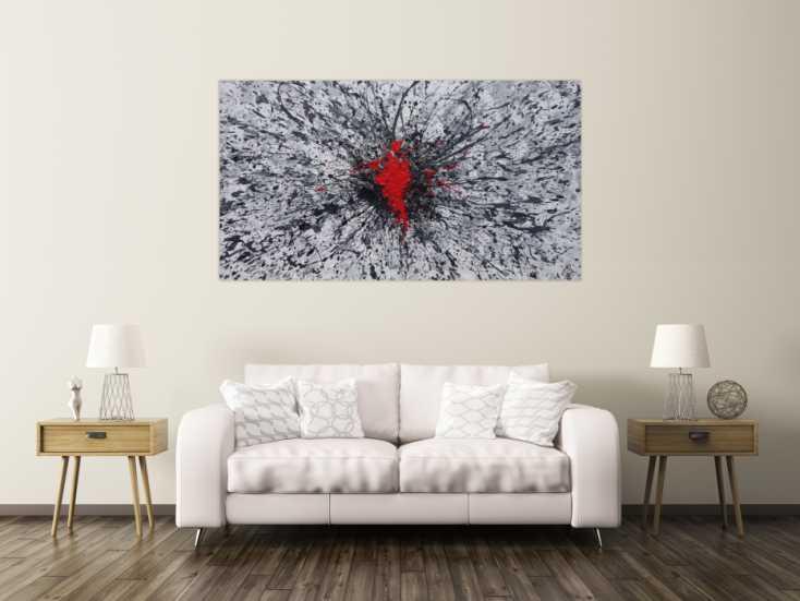 #1353 Abstraktes Acrylbild grau weis schwarz rot Action Painting Splash Art ... 100x180cm von Alex Zerr