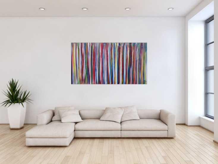 #1354 Abstraktes Acrylbild modernes Gemälde bunte Streifen zeitgenössisch ... 80x150cm von Alex Zerr