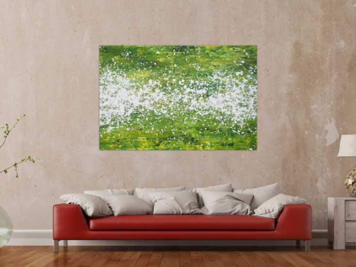 #1355 Abstraktes Acrylbild modern grün weiß Action Paintng Modern Art ... 100x150cm von Alex Zerr