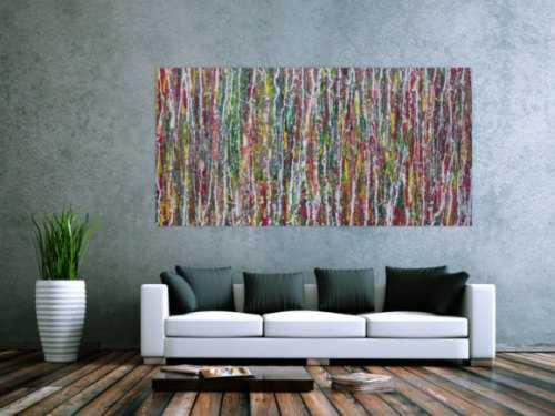 Abstraktes Acrylbild Modern Art Action painting bunt rot grün gelb grau weiß