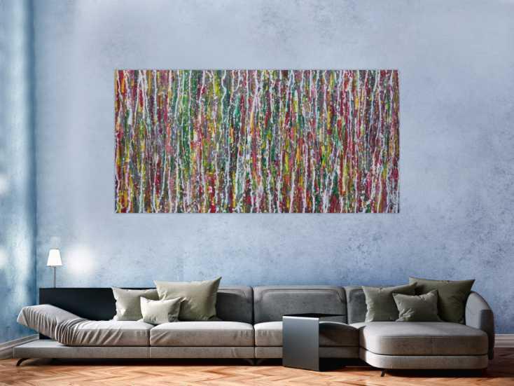 #1356 Abstraktes Acrylbild Modern Art Action painting bunt rot grün gelb ... 100x200cm von Alex Zerr