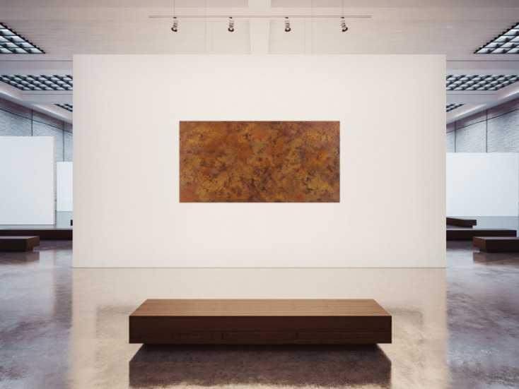 #1357 Abstraktes Gemälde aus echtem Rost mit Struktur zeitgenössisch ... 100x200cm von Alex Zerr