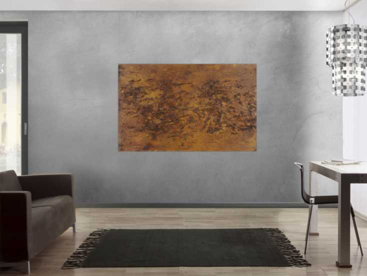 #1358 Modernes Gemälde aus echtem Rost Abstrakt starke Stuktur sehr modern ... 100x160cm von Alex Zerr