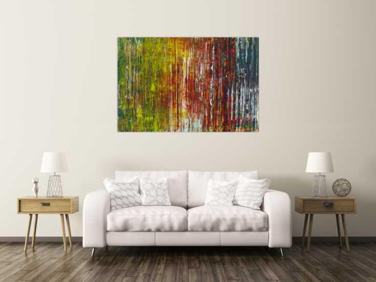 #1359 Abstraktes Acrylbild Spachteltechnik sehr bunt modern zeitgenössisch 100x150cm von Alex Zerr
