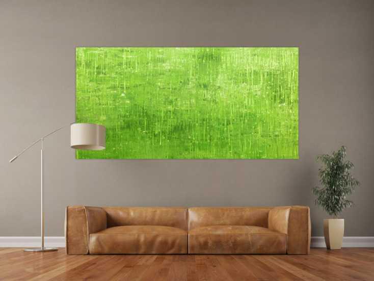 #136 Abstraktes Acrylbild grün modern 100x200cm von Alex Zerr