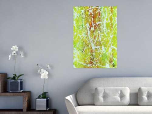 Abstraktes Acrylbild Action Painting geld orange grün weiß modern zeitgenössisch
