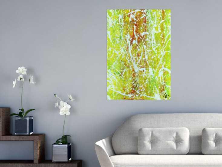 #1360 Abstraktes Acrylbild Action Painting geld orange grün weiß modern ... 85x60cm von Alex Zerr