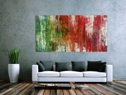 Abstraktes Acrylbild Spachteltechnik sehr bunt modern zeitgenössisch expressionistisch