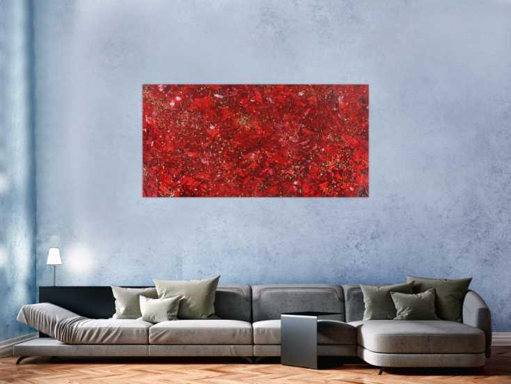 #1362 Abstraktes Acrylbild rot gold Modern Art zeitgenössisch ... 80x160cm von Alex Zerr