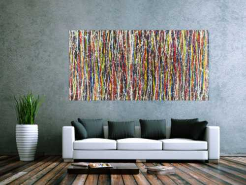 Abstraktes Acrylbild sehr bunt Action Painting Modern Art zeitgenössisch expressionistisch