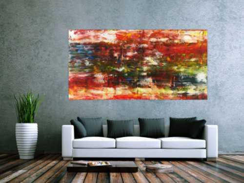 Abstraktes Acrylbild sehr bunt moderne Farben zeitgenössisch expressionistisch Modern Art