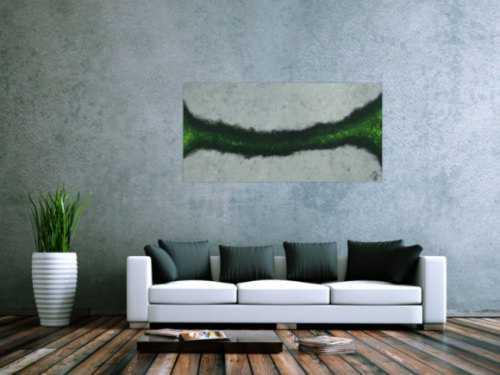 Abstraktes Acrylbild grau schwarz grün Modern Art zeitgenössisch