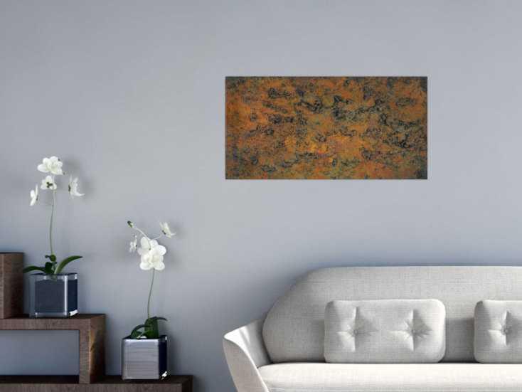 #1367 Abstraktes Bild aus echtem Rost mit grober Struktur Modern Art ... 40x80cm von Alex Zerr