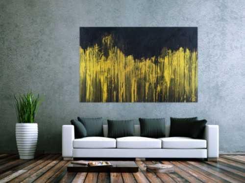 Abstraktes Acrylbild sehr modern schwarz und gold zeitgenössisch abstrakt expressionistisch extra dicker Rahmen 5cm