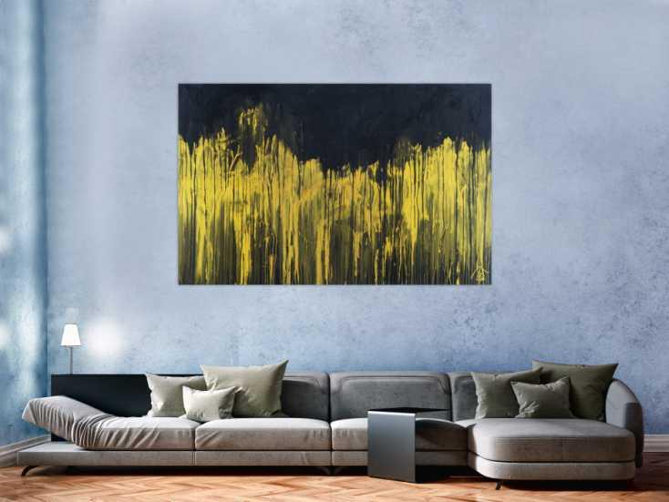 #1368 Abstraktes Acrylbild sehr modern schwarz und gold zeitgenössisch ... 110x170cm von Alex Zerr