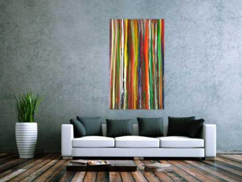 Abstraktes Acrylbild bunte Streifen Modern Art zeitgenössisch Hochformat