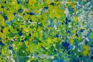 Detailaufnahme Abstraktes Acrylbild türkis weiß gelb modern abstrakt zeitgenössisch