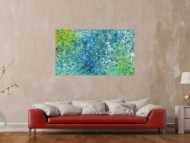 Abstraktes Acrylbild türkis weiß gelb modern abstrakt zeitgenössisch