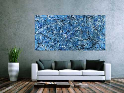 Abstraktes Acrylbild Action Painting Modern Art blau weiß schwarz abstrakt expressionistisch
