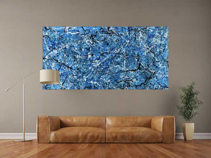 #1371 Abstraktes Acrylbild Action Painting Modern Art blau weiß schwarz ... 100x200cm von Alex Zerr