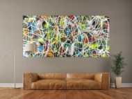 Abstraktes Acrylbild sehr bunt modern Action Painting mit weißen Streifen