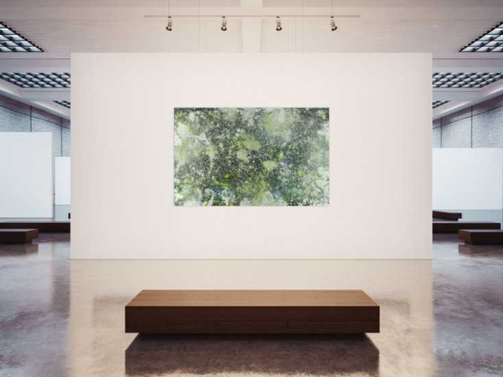 #1378 Abstraktes Acrylbild dunkel und hell grün weiß auf dunklem Grund ... 125x200cm von Alex Zerr