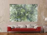 Abstraktes Acrylbild dunkel und hell grün weiß auf dunklem Grund Action Painting
