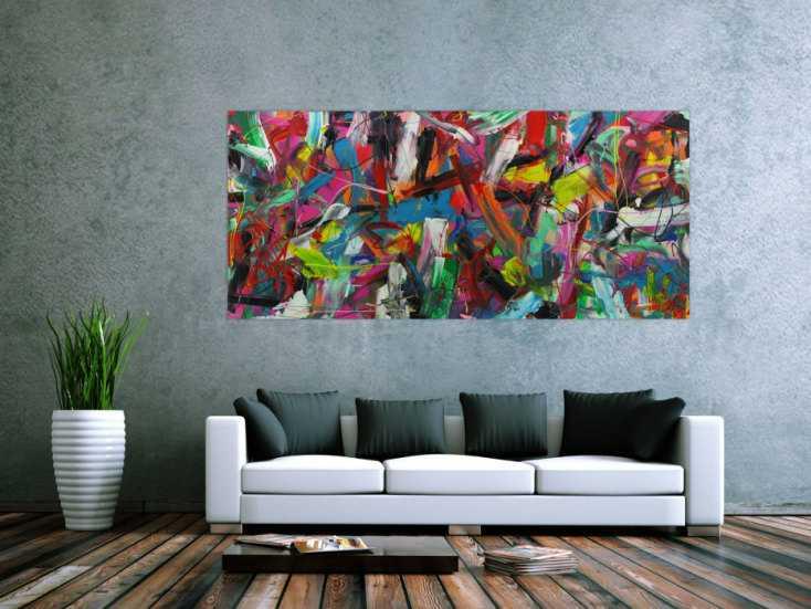 #1379 Abstraktes Acrylbild sehr modern Action Painting bunte Farben ... 90x200cm von Alex Zerr