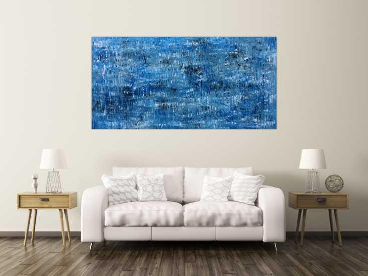 #138 Abstraktes Acrylbild modernes Muster blau 100x200cm von Alex Zerr