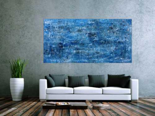 Abstraktes Acrylbild modernes Muster blau