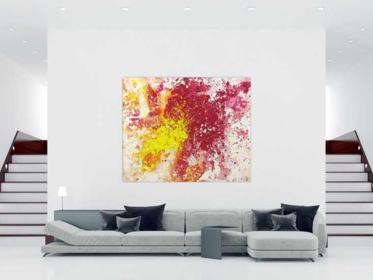 #1382 Abstraktes Acrylbild Modern Art Action Painting pink gelb weiß ... 160x200cm von Alex Zerr