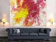 Abstraktes Acrylbild Modern Art Action Painting pink gelb weiß zeitgenössisch