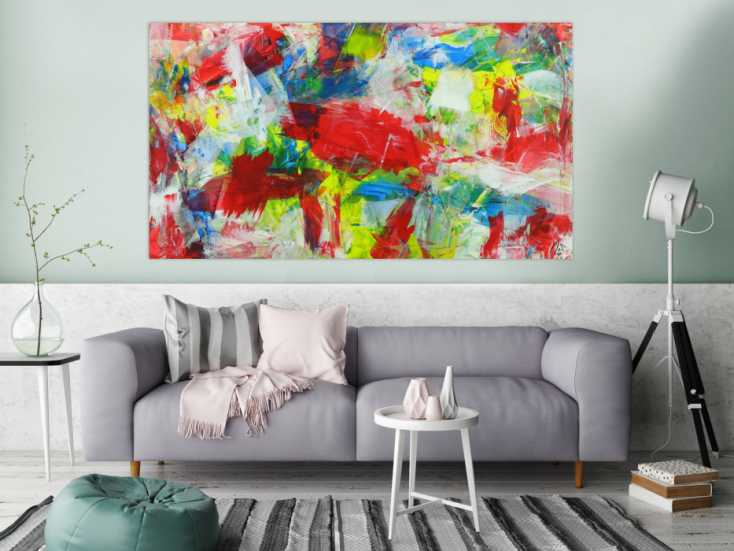 #1390 Abstraktes Gemälde sehr bunt zeitgenösssich Spachteltechnik Modern ... 100x180cm von Alex Zerr